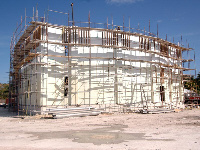 Quad-Lock ICF Hurricane Resistant College of the Bahamas Library plus Emergency Shelter exterior construction in Nassau, Bahamas - ICF & More, OKC